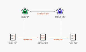 Another security issue that blockchain eliminates is data theft.   flow chart/small diagram of the public and private key